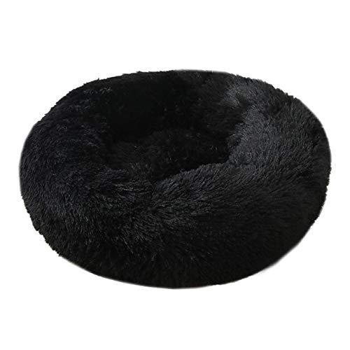 KEHUITONG PSWK Cama para Perros Kennel de Mascotas Redondo Largo Peluche Super Suave Sople Sourfle Scountger Cat House Winter Sofa cálida Cesta. (Color : Black, Size : Diameter 90CM)