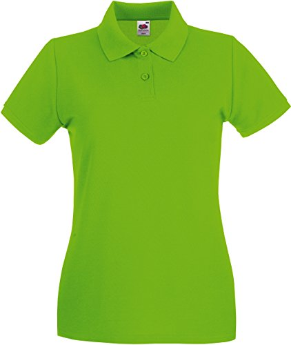 Fruit of the Loom Damen Premium Polo Lady-Fit Poloshirt, Grün (Lime Green 521), Large (Herstellergröße: 14)