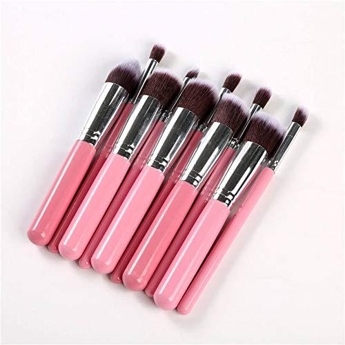 KDBHM Pinceau de Maquillage 10 Pcs Make Up Brush Set Or Rose Brosse De Maquillage Multipurpose Profession Foundation Poudre Mélange Pinceau Cosmétique,Rose