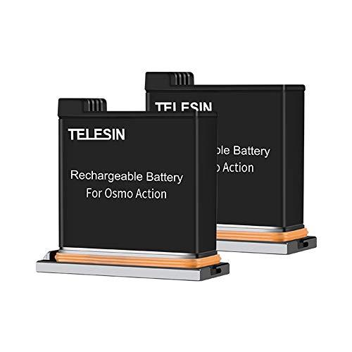 TELESIN DJI OSMO Action Akku(3.85V 1300mAh), AkkuLadekit Für DJI OSMO Pocket Action(Nur 2 Batterien)