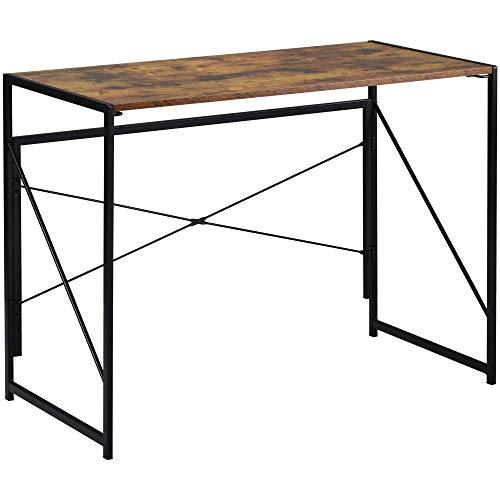 ModernLuxe Klappbarer Computertisch, einfache Montage, einfacher Schreibtisch, Schreibtisch, Schreibtisch, Heimbüro, Schreibtisch für Erwachsene & Kinder, 100 x 50 x 75 cm, Braun