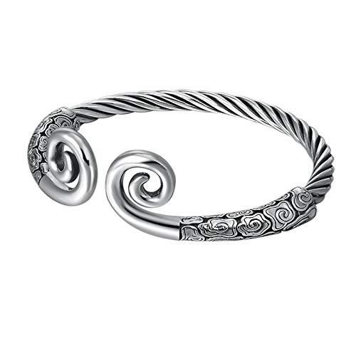 THTHT S925 Vintage zilveren armband voor dames en heren, gouden hoop, stick wolken, erotiek, creolen, eenvoudig en eenvoudig te openen Chinese persoonlijkheid, creatief charme mooi cadeau