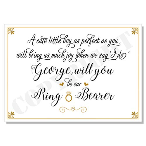 Will you be my Ring Bearer Page Boy (any name/relation) Personalised Card A6