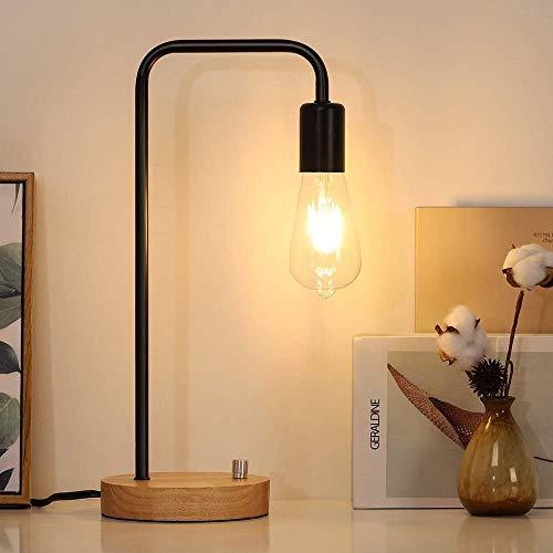 Lámpara Escritorio Juego de lámpara de escritorio industrial | Lámpara de noche de metal con extremo de madera | Lámpara de escritorio de noche | Lámpara de oficina vintage Sala de estar, dormitorio,