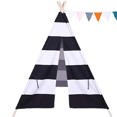 best-good Kingsea Indian Tent Children Teepee Tent Baby Indoor Dollhouse with Small Coloured Flags Roller Shade and Pocket Black and White Stripes(US Shipping)