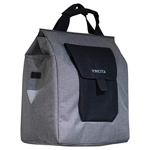 Vincita Jess Bicycle Grocery Pannier - Bike Shopping Bag for Urban Commuter with Large Capacity, Handle and Reflective Spots- Modern Stylish Design for All Bikes (Gray)