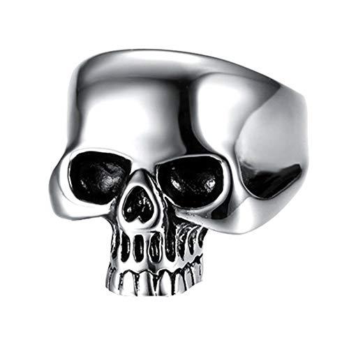 Joielavie - Anello da uomo in acciaio inox, con teschio e scheletro lucido, stile punk biker, colore: Nero argento e Argento, 22, cod. MBJ3119