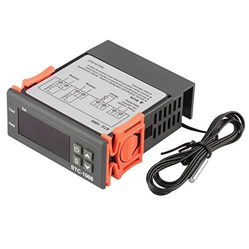 LHQ-HQ Reminnbor termostato digital de doble pantalla de temperatura Controlador con doble sonda NTC calefactor del sensor de la sonda Dos relé de salida de 12V