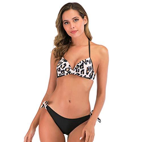 Bikini de Leopardo Mujer, Cintura Alta Traje de BañO Bandeau de Tanga EláStico Ancho y Grueso Ajustado Sexy Dividido Adecuado para NatacióN de Vacaciones Tropicales