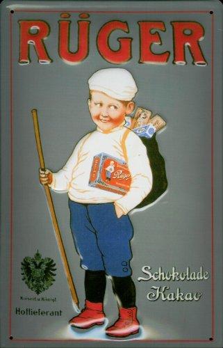Blechschild Nostalgieschild Rüger Hansi Schokolade Kakao Schild retro Werbung Metallschild