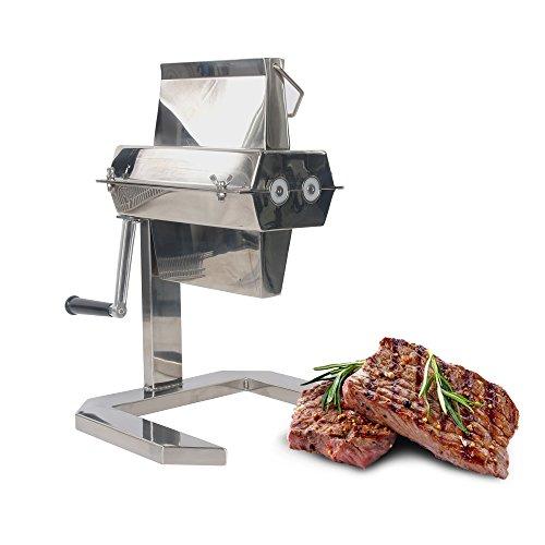 ITOPKITCHEN Profi Steaker Fleischzartmacher mit 2 Edelstahl Messerwalzen und leichtgängiger Handkurbel, Edelstahl-Messerwalze mit unterschiedlicher Dichte, 5in-Fleischprozessor (27 * 2)