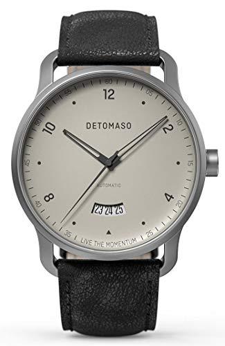 DETOMASO VIAGGIO Automatic Ivory Herren-Armbanduhr Analog Quarz Italienisches Lederarmband Schwarz