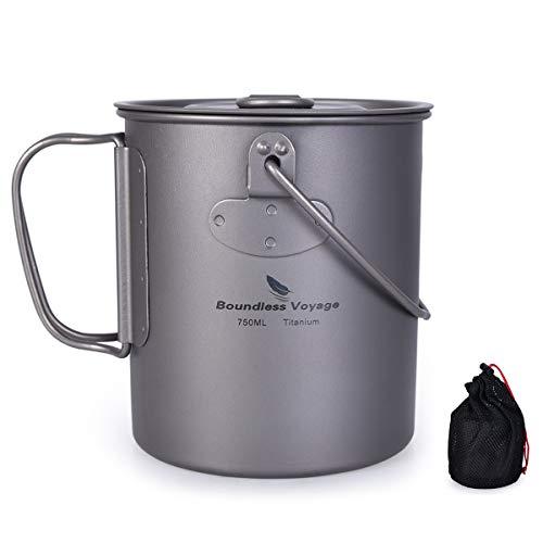 iBasingo Titan Tasse Camping Hängetopf mit Deckel Klappgriff Outdoor Ultraleicht Kaffee Wasser Becher Picknick Kochgeschirr für den täglichen Gebrauch Rucksackreisen 750ml Ti1581BI