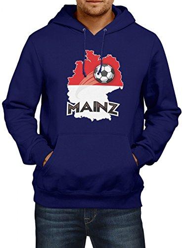 Mainz #2 Premium Hoodie | Fussball | Fan-Trikot | Die Macht in Deutschland | Herren | Kapuzenpullover, Farbe:Dunkelblau;Größe:4XL