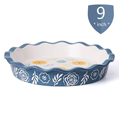 KINGSBULL HOME Pie Pan Porcelain Pie Dish Ceramic Pie Plate 10.5-Inch Teal Non-Stick Safe for Microwaves, Dishwasher, Ovens, Navy blue