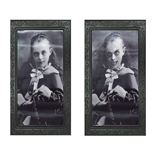 Luopei Horror-Bilderrahmen, 3D-Bilderrahmen, Geister-Bilderrahmen, Halloween-Geister, bewegliches Grimas-Gesicht, Spuk-Requisiten, 48 x 36 cm, für Halloween-Maskerade-Partys, Spukhäuser, Bar