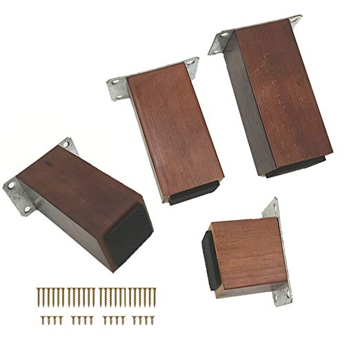 Pack of 4 Wood Furniture Parts Sofa Legs,Square Wooden Furniture Legs,Oak Replacement Legs,Adds Height Beds Sofas Cabinets Couch Dresser Armchair Feet,with Accessories(brown8cm/3.1in)