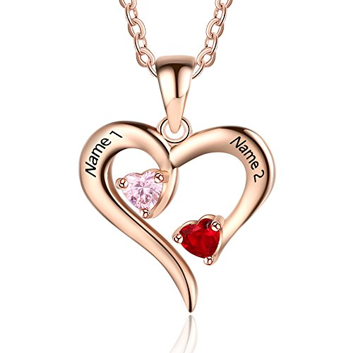 Customised Sterling Silver Rose Gold Love Heart Necklace for Women Cusume Jewellery- Pendant for Mum Grandma BFF Name Necklace Chain Personalised Gifts - 2 Simulated Birthstone 2 Engraved Names