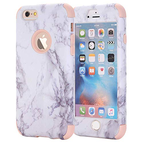 iPhone 7 Plus Case, iPhone 8 Plus Case, AOKER [Marble Design] Slim Dual Layer Anti-Scratch Shockproof Hard Back Cover Soft Silicone Protective Case Fit for Apple iPhone 7/8 Plus (Rosegold)
