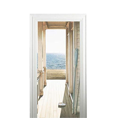 Magiin 2 Pcs Fototapete Türtapete selbstklebend Türposter - Abnehmbar Fototapete Türfolie Poster Tapete Meer Muster Türaufkleber für Tür, Wohnzimmer, Schlafzimmer, Küche und Bad 38.5 x 200cm (A)