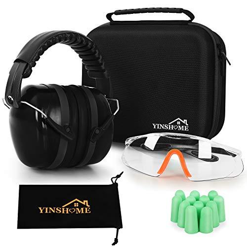 YINSHOME Shooting Ear Protection Earmuffs Gun Safety Glasses Earplugs Protective Case