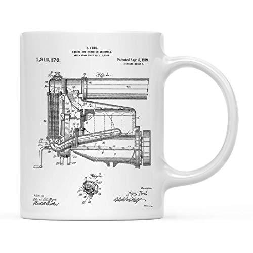 Vliegtuigen, Treinen, Automobiles Patent Print 11oz Koffie Mok Verjaardag Kerstcadeau, Model T Motor en Radiator Assembly, Automotive Mok, Henry Ford, Antieke Auto, Auto Deel Mok
