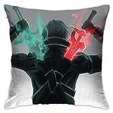 Kazuto Kirigaya Kirito Swird Art Online Throw Pillow Covers Decorative Pillow Cases Euro Home Decor Pillow Cases 18x18 Inches Pillowcases