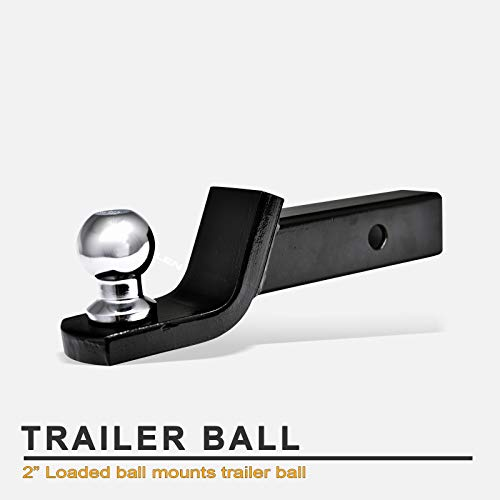 Stehlen 733469487876 Universal Trailer Hitch 2 Inch Drop Loaded Ball Mount Receiver 2' - Silver With Polished Chrome