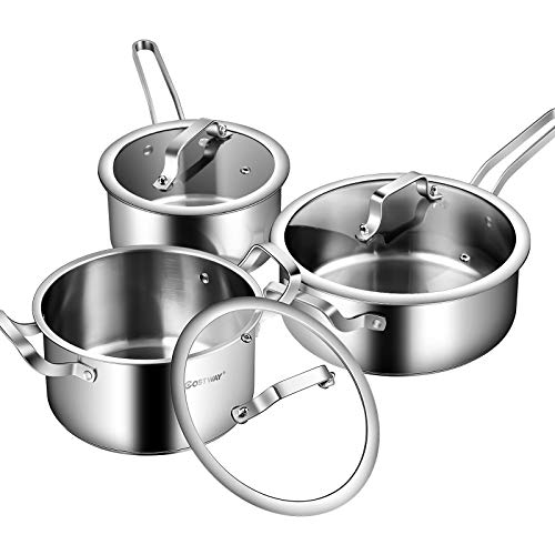 induction cooking pots COSTWAY 6 Piece Stainless Steel Cookware Set, Induction Cooking Pots Set, Oven & Dishwasher Safe, Convenient Grip Handle, Tempered Glass Lid, Large Capacity, Even Heat Distribution