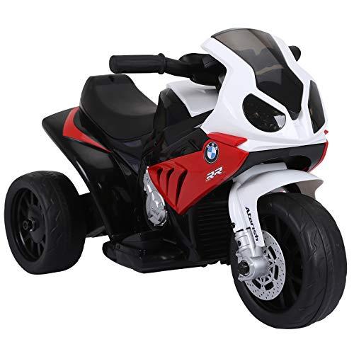 homcom Moto Elettrica per Bambini Max. 20kg con Licenza BMW, 3 Ruote, Batteria Ricaricabile 6V, Bianco Rosso, 66x37x44cm