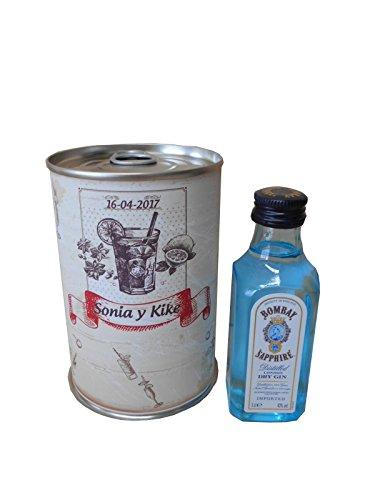 Botellin miniatura Ginebra Bombay Sapphire en lata personalizada - Pack de 6