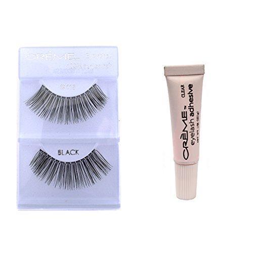 12 Pairs Crème 100% Human Hair Natural False Eyelash Extensions Black #118 Long Natural Lashes by Creme Eyelash