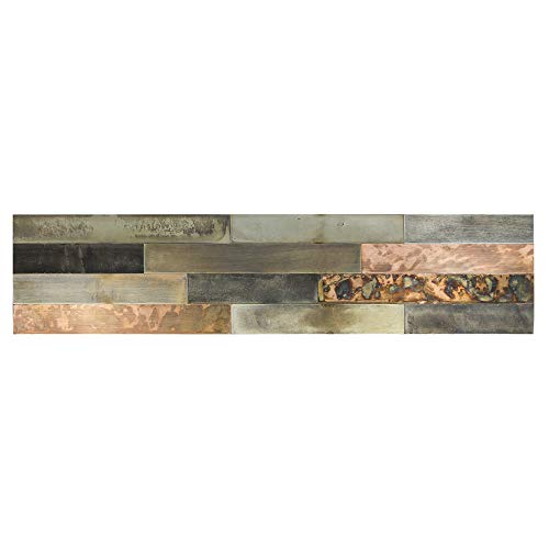 "Aspect Peel & Stick Distressed Metal Panel (23.6"" x 5.9"" Panel, Aged Copper)"