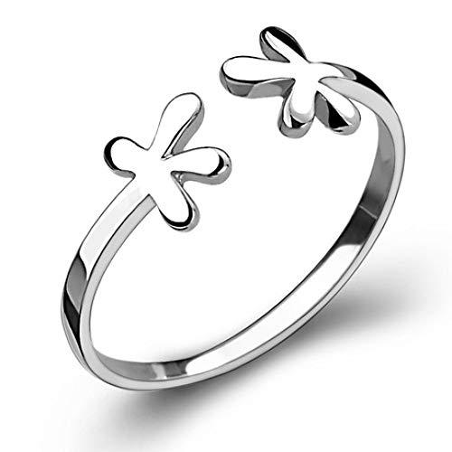Gl Ring vierblättriger Klee Ring Blume offener Ring um den Schwanzring