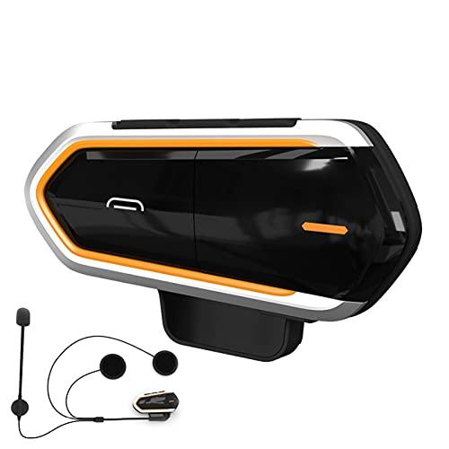 Sistema de comunicación para motocicleta, casco de motocicleta, intercomunicador Bluetooth, impermeable, inalámbrico, con radio FM, para motocicleta, color negro y naranja, 1 unidad