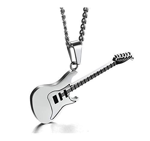 chenyou Roca de Oro Dos Tonos de Plata Pendientes de Titanio de Acero Inoxidable Guitarra Música Guitarra joyería de los Pares Collar for Mujer de los Hombres Mujer niña para