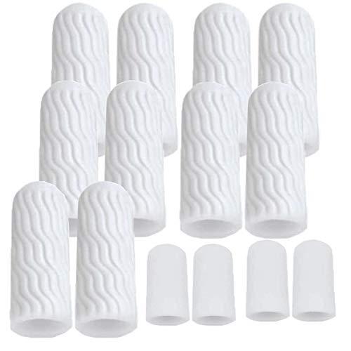 Mcvcoyh 14 Pcs Fingerschutz, Dicker Gel Finger Ärmel, Wasserdichter Silikon Fingerlinge für Finger Knacken, Finger Arthritis, Handekzem und mehr.