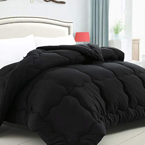KARRISM All Season Down Alternative Queen Comforter, Summer Cooling Comforter Ultra Soft Quilted Duvet Insert with Corner Tabs, Wavy Box Stitched, Luxury Fluffy Lightweight (Black, 88 x 88 inches)