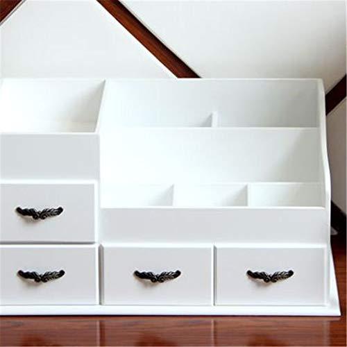 Porte-Maquillage Support de Rangement Boîte à Bijoux surdimensionné boîte de Rangement de Bureau en Bois Maison de Maquillage boîte imperméable à l'eau 36 * 22 * 18 cm, A