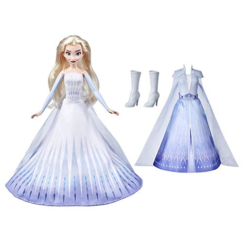 Hasbro Frozen, Disney Frozen 2 Elsa's Transformation Fashion Doll con 2 abiti e 2 stili di capelli, giocattolo ispirato a Disney Frozen 2