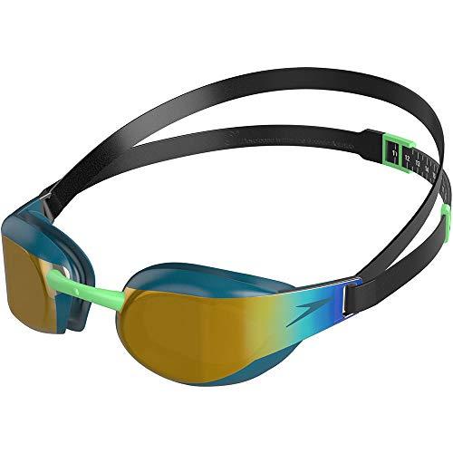 Speedo Fastskin Elite Mirror, Occhialini da Nuoto Unisex-Adulto, Verde/Dorato, Taglia Unica