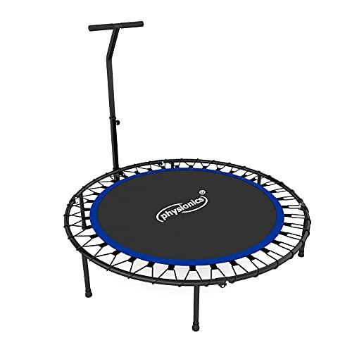 Physionics® Fitness Trampolin - Verstellbarer Griff, Ø 101 cm, max. 120 kg, klappbar, faltbar, Indoor/Outdoor, mit Gummiseilfederung - Mini-Trampolin, für Erwachsene und Kinder, Rebounder, Jumping