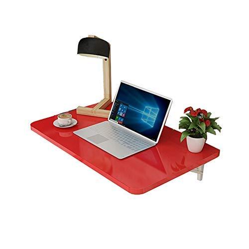 Oevino Moda Casual Mesa Plegable de Pared, Mesa de la Cocina, Escritorio de la computadora, Balcón, Rincón de la Tabla, Rojo (Size : 80 * 50cm)