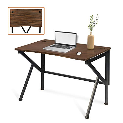 """LYNSLIM Folding Study Writing Desk - 42"""" Simple Computer Desk for Home Office Small Space Foldable Gaming Laptop Table Workstation, K-Shaped Metal Frame & Easy Assembly (Brown)"""