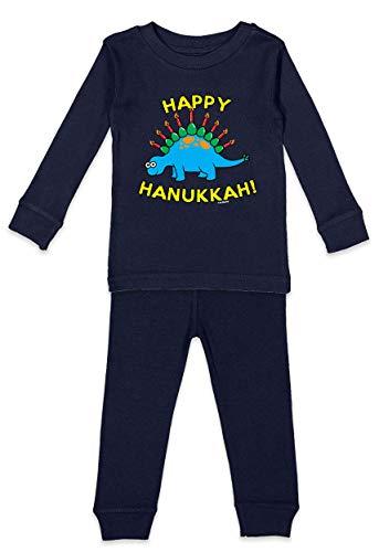 Happy Hanukkah Dinosaur Menorah Infant/Toddler Shirt & Pants Set (Navy Blue Top/Navy Blue Bottoms, 5T/6T)