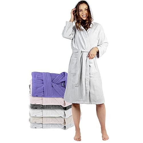 Twinzen Bata Baño con Capucha, Albornoz 100% Algodón para Mujer (L, Gris Estaño), 2 Bolsillos, Cinturón Certificado Oeko Tex - Bata de Baño - Albornoz Suave, Absorbente y Cómodo