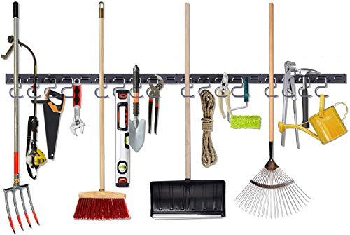 NZACE Gerätehalter Garten, Besenhalter Wandhalterung 64 Zoll verstellbares Aufbewahrungssystem Gartenwerkzeuge, Wandhalterung Werkzeug-Organizer, Garagen-Organizer mit 4 Schienen 16 Haken