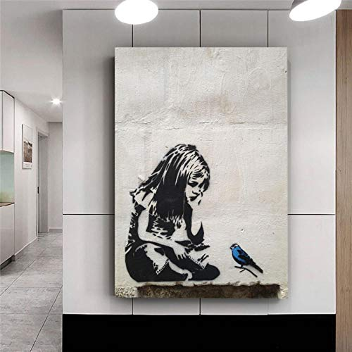 HYFBH Toile Art Print Banksy Graffiti Street Art Girl with Blue Bird Nordic Posters and Prints Wall Art Pictures Home Decor 50x75cm (20x30in) Cadre intérieur