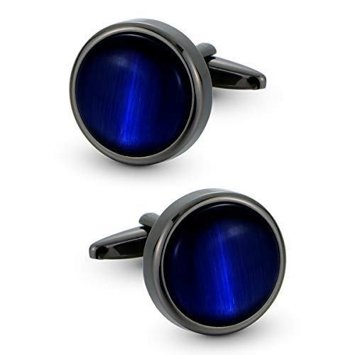 VIILOCK Round Cat Eye Cufflinks for Men Dark Blue Opal Cuff Links in Gun Black Business Gift