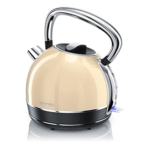 Arendo - Wasserkocher Retro Edelstahl Teekessel im Vintage Style - max. 2200 Watt - austauschbarer Kalkfilter - Füllmenge max. 1.7 Liter - automatische Abschaltung - beige